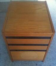 Wooden filing cabinet two drawers plus filing drawer on casters Pennant Hills Hornsby Area Preview