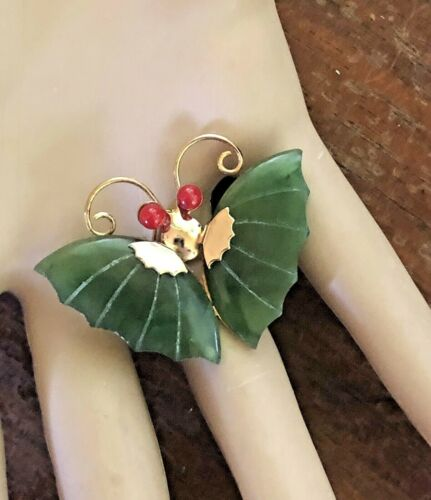 Estate Find, Carved Jade And Red Coral Butterfly Pendant/Brooch Pin