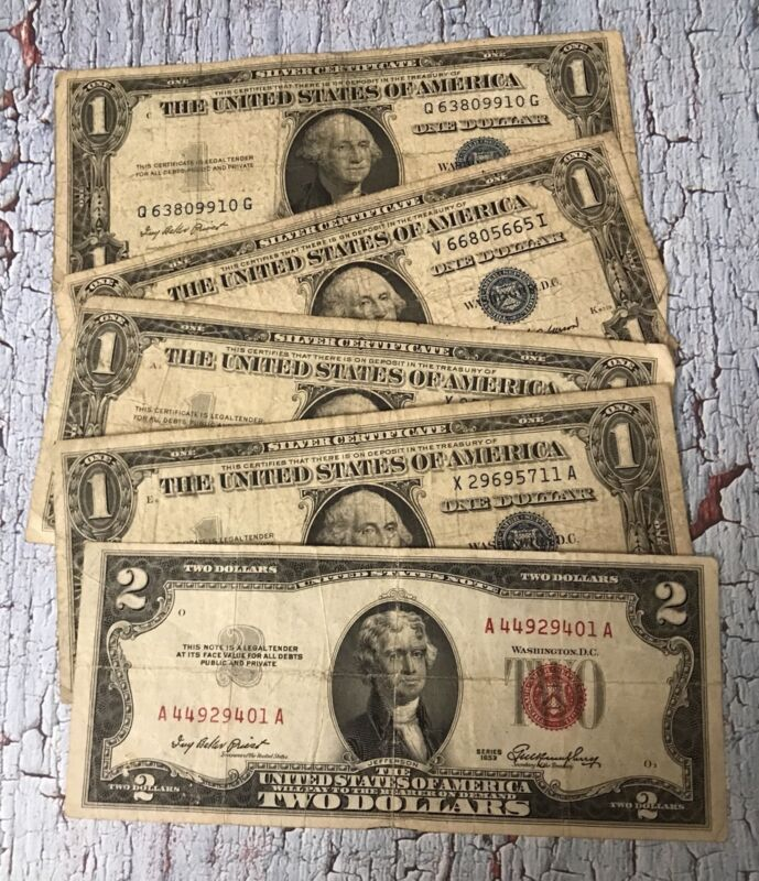 Antique Estate Lot of (4) $1 Blue Seals & (1) $2 Red Seal Paper Money Collection