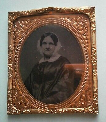 Tin Type of Woman framed under glass with metgal mat, (Types Of Frames Glasses)