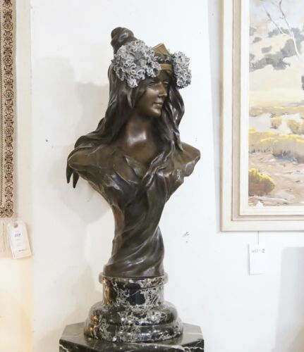 Large French art nouveau bronze Emmnuel Villanis ?  Friedrich Goldscheide ? Bust