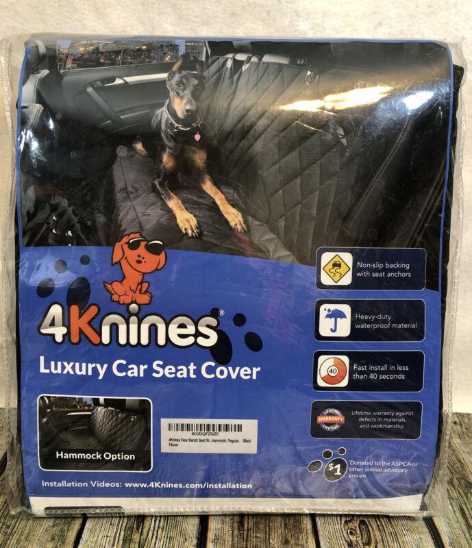 4KNINES Black Luxury Rear Bench w/ Hammock Option Dog Car Seat Cover #3456 New