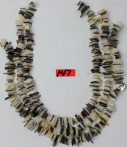 "3 -14"" Strand White Mother Pearl Black & White Gemstone Lrge Chips Beads 8-15mm"