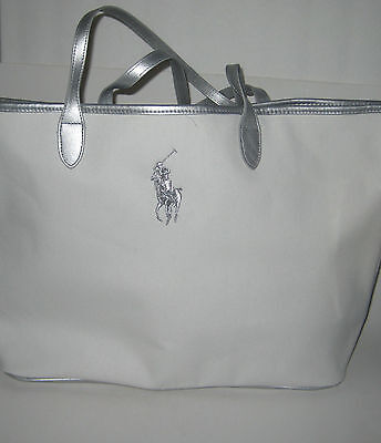Women Ralph Lauren Tote Bag White Canvas Tote Bag Travel Weekender Gym Bag