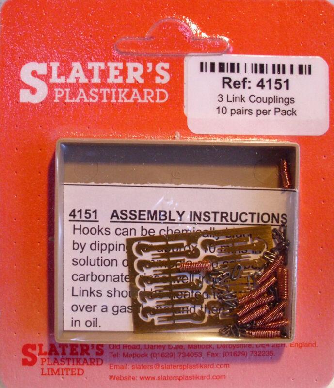 Slaters 4151 - 4mm (00) - 10 Pairs 3 Link Metal Coupling Kits