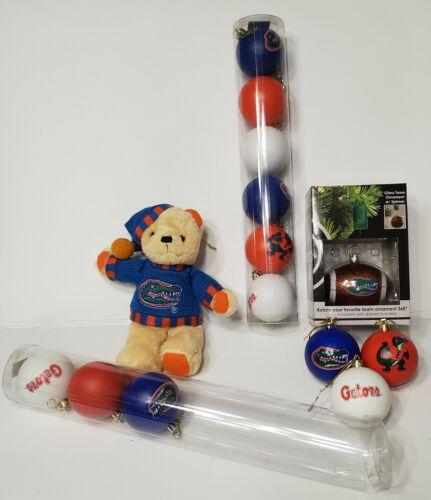 Florida Gators Football LOT: Plush Teddy Bear, Glass Ornament w/ Spinner, +