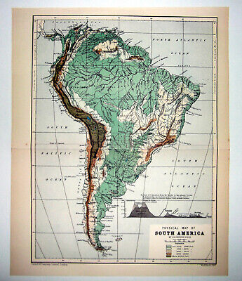 1901 VICTORIAN SMALL COLOUR PHYSICAL MAP OF SOUTH AMERICA