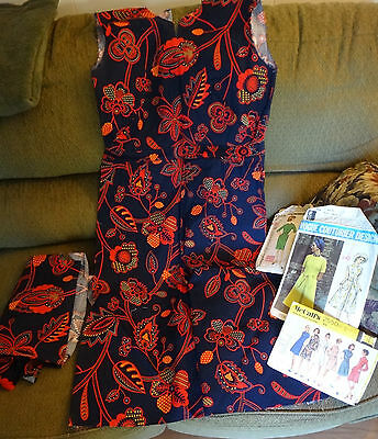 Clothes From The 70s (Vintage Unfinished Dress from the 1960-70's Red Blue 3 Patterns & extra)