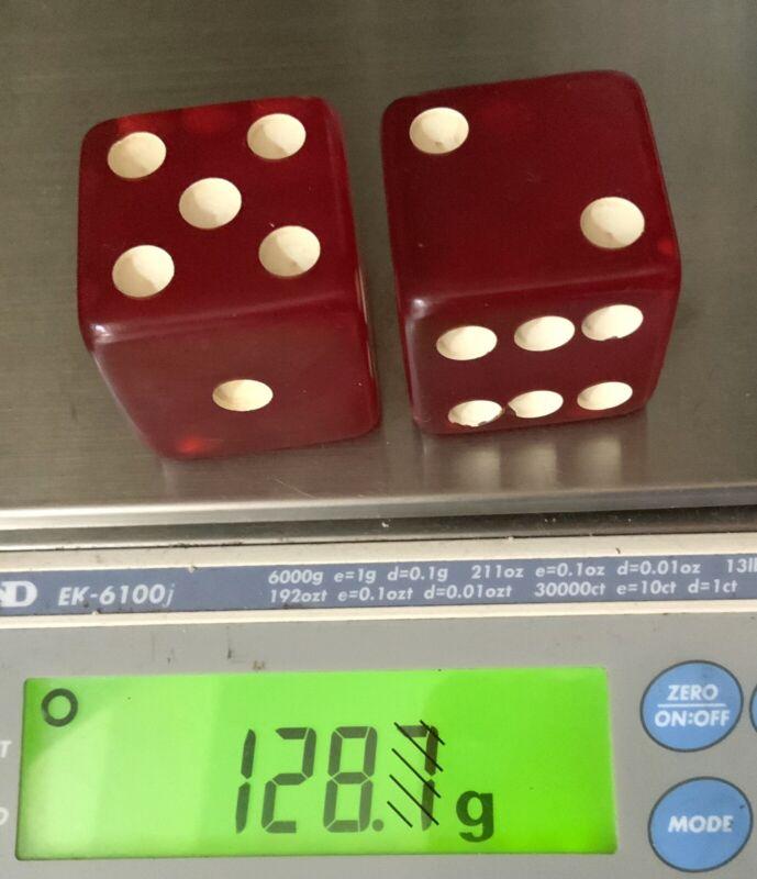 """BAKELITE PAIR 1 3/8"""" CHERRY RED AMBER FATURAN DICE 128.7 Grams"""
