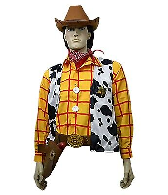 Woody Cowboy Shirt (S/M 11 Pc Adult Toy Story Woody Cowboy Costume Shirt Vest Buckle Belt Holster)