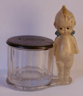 Antique c1910's Kewpie by Barrel Glass Candy Container Borgfeldt Original Paint