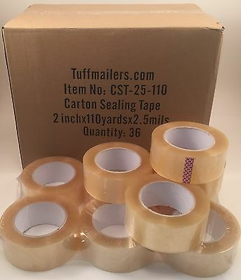 72 rolls Carton Sealing Clear Packing/Shipping/Box Tape- 2.5 Mil- 2