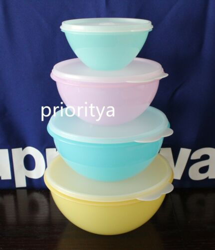 Tupperware Classic Wonderlier Mixing All Purpose Pastel Vintage Bowl 4pc Set New