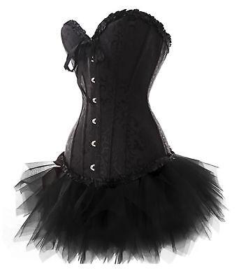 Korsett Tutu (Corsage Kleid Mini Rock Korsett Tutu schwarz Gothic Wäschebeutel)