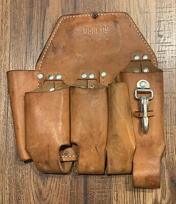W.m. Bashlin Leather Iii Hlds Tool Pouch Lineman Belt Bag
