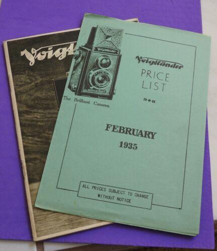 vintage VOIGTLANDER Camera booklet & 1935 Price list camera