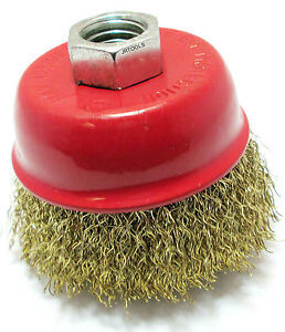 65mm-Brass-Crimp-Wire-Cup-Brush-M14-Set-of-2-WB009-For-Grinders-Drills-New