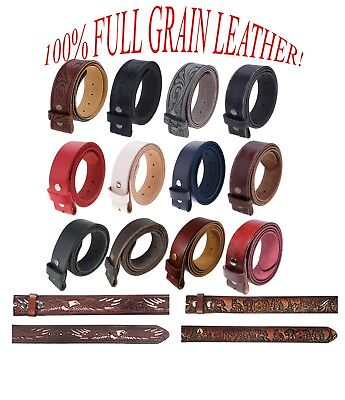 Full Grained Leather (Gelante FULL GRAIN Genuine Leather Belt Strap without Buckle UNISEX BELT )