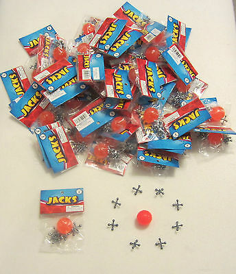 75 SETS OF METAL JACKS  AND SUPER RED RUBBER BALL GAME JAX TOY PARTY FAVORS