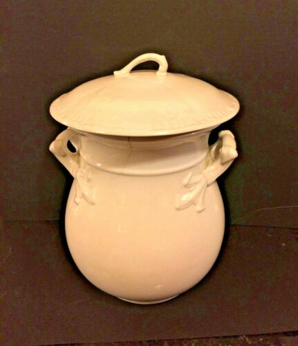 Antique Ironstone Chamber Pot/Slop Bucket Waste Jar England With Lid  circa 1900