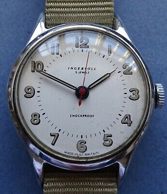 EXCELLENT 35mm Military dial INGERSOLL 5J CP/SS man's watch+New strap 1950's