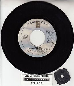 EAGLES-One-Of-These-Nights-Visions-45-rpm-7-record-juke-box-title-strip