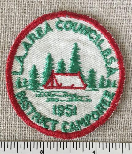 Vintage 1951 LA AREA COUNCIL Boy Scout District Camporee PATCH California Camp