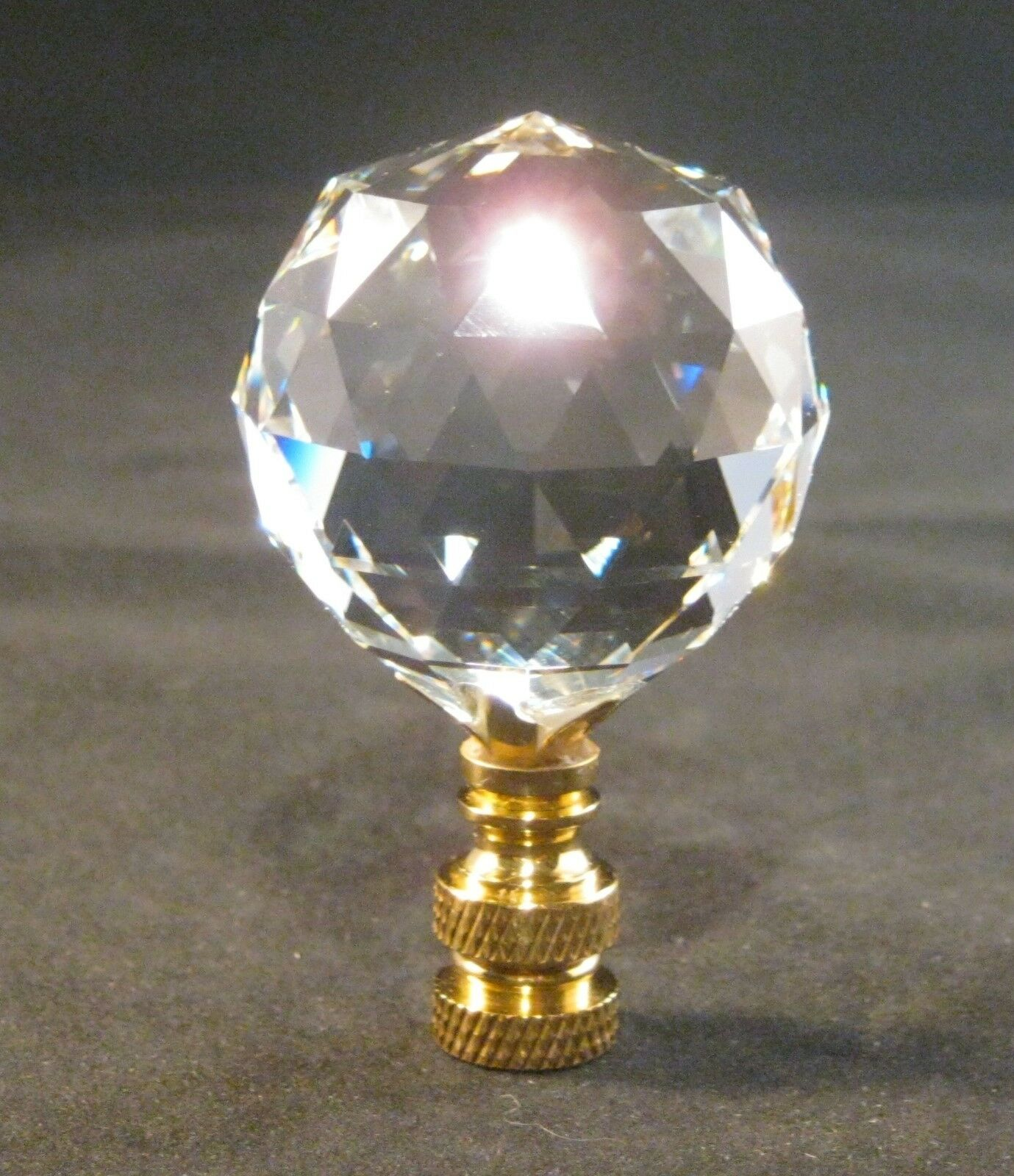 LAMP FINIAL-STUNNING LEADED CRYSTAL LAMP FINIAL**BRASS BASE**