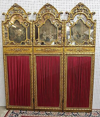 (Antique French Louis XVI Carved Three Panel Gilted Dividing Screen w/Paintings )