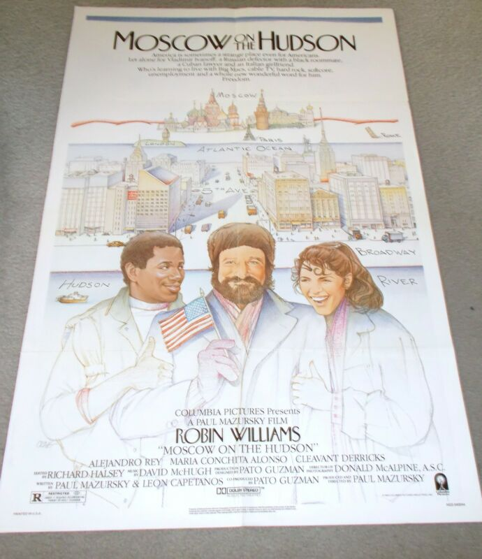 "ROBIN WILLIAMS ORIGINAL MOVIE THEATRE POSTER, ""MOSCOW ON THE HUDSON"""