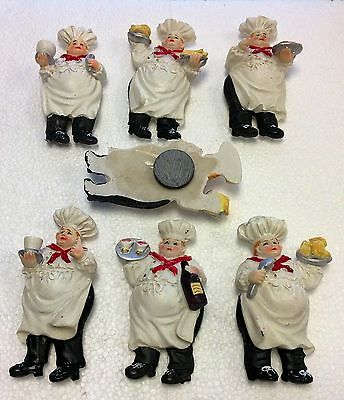 Fat Chef Refrigerator Magnet 6 Pc Assorted Magnets Bistro Kitchen Decor Nice Gif