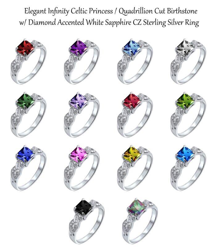 Infinity Celtic Princess Cut Birthstone w/ Sapphire Genuine Sterling Silver Ring