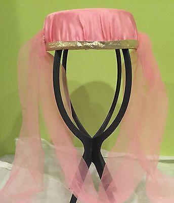 LADIES GENIE HAREM HEADPIECE PINK GOLD-SHEER VEIL-ALADDIN DANCER COSTUME HAT](Genie Headpiece)