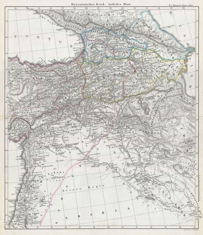 1854 Spruner Map of Byzantine Turkey, Iran, Iraq, and Syria
