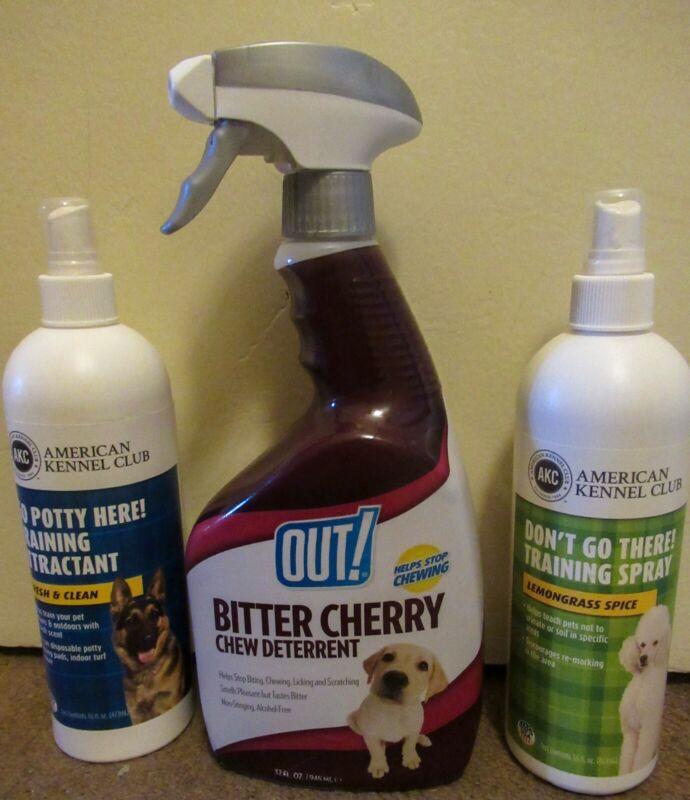 Puppy supplies lot Bitter cherry chew deterrent and Potty training sprays