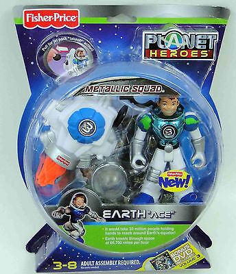 FISHER-PRICE PLANET HEROES METALLIC SQUAD Set of 5, All New in Package, USA Ship