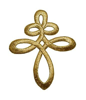 (#2365 Gold Trim Fringe Celtic Knot Embroidery Iron On Applique Patch)