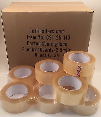 36 Rolls Carton Sealing Clear Packingshippingbox Tape- 2.5 Mil- 2 X 110 Yards