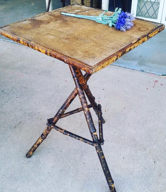 441d38e55776f Old tortoise shell bamboo gypsy table.  70. pomona