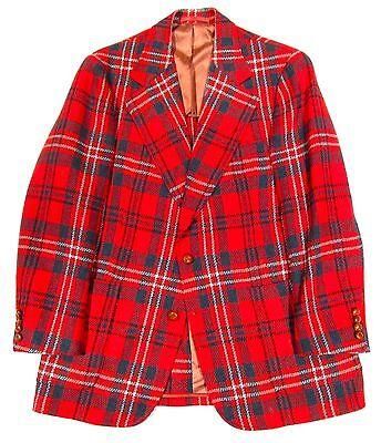 Vintage 1960s Bespoke Red Plaid Wool Tweed 2-Piece Suit Men's 38