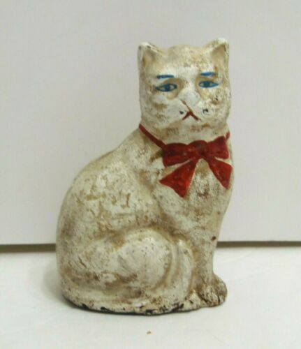 Vintage Antique Hubley Cast Iron Cat Bank White With Red Bow Hand Painted 4.5""