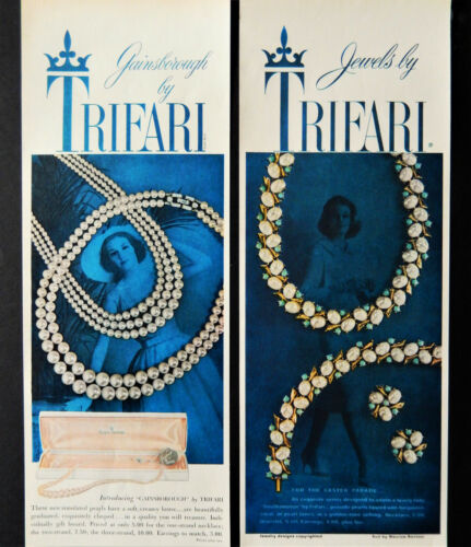 Vtg 1959 Trifari jewelry necklace 2 pg advertisement print ad art