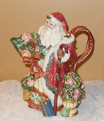 - FITZ AND FLOYD SANTA CLAUS PITCHER WREATH, GIFTS RETIRED CLASSICS COLLECTION NIB