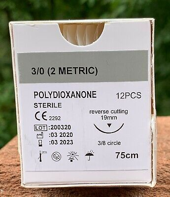 Veterinary Surgical Suture 30 Pdspdo 12ct Polydioxanone Reverse Cutting 19 Mm