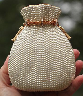 Pearl Pouch - JUDITH LEIBER SWAROVSKI PEARL MISERS POUCH MONEY SACK MINAUDIERE CLUTCH BRIDAL