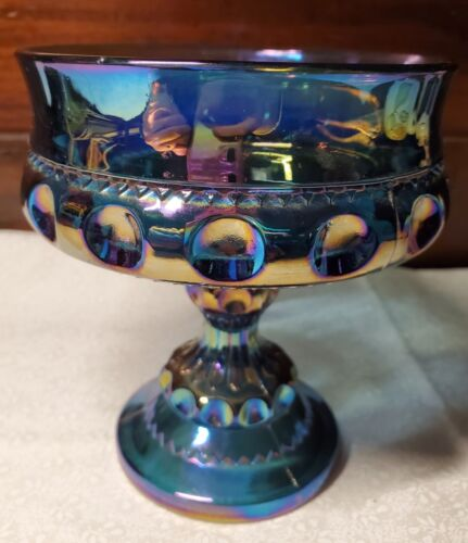 BEAUTIFUL Indiana Glass Carnival Peacock Blue Compote Kings Crown Dish Vintage