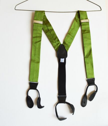 Vintage Mens Andover Shop England Leather Tab Suspenders Green