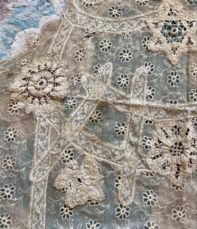 Antique Rare Fine Lace apron or collar From Estate