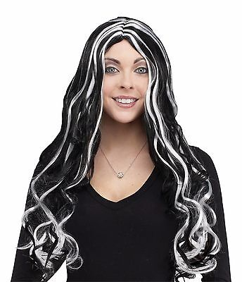 New Long Black and White Curly 30 Inch Halloween Wig Fun World 9231 Costumania (Black And White Halloween Wig)