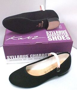 Katz RAD Character Syllabus Shoes, CUBAN & LOW Heel, Black Girls Canvas Dance